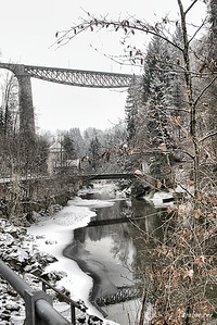 This work is licensed under a Creative Commons Attribution- NonCommercial 4.0 International License.  The Sitterviadukt on the Schweizerischen Südostbahn (SOB)  St. Gallen    12/19/16