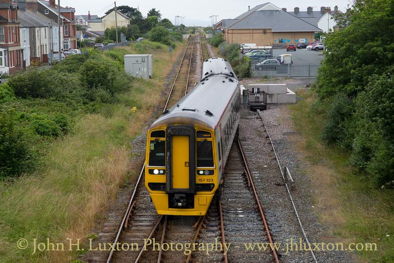 Class 158823 seen from the Neptune Road bridge Tywyn adjacent to the Talyllyn Railway.