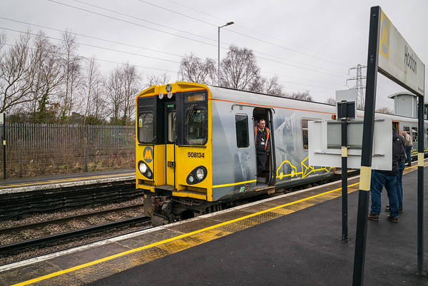 """Photographs taken during the Branch Line Society """"Merseyrail Overground and Underground Explorer"""" rail tour on Sunday January 26, 2020.  Photo stop at Hooton Station."""