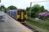 Class 150 Sprinter 150232 at Gunnislake Station on the Tamar Valley Line working the 13:45 Gunnislake to Plymouth (North Road) on May 29, 2014