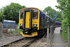 Class 150 Sprinter 150232 arrives at Calstock Station on the Tamar Valley Line operating the 13:45 Gunnislake to Plymouth service on May 29, 2014