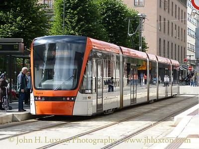 A German built Variotram at the the Bergen Byparken terminus. - August 08, 2012
