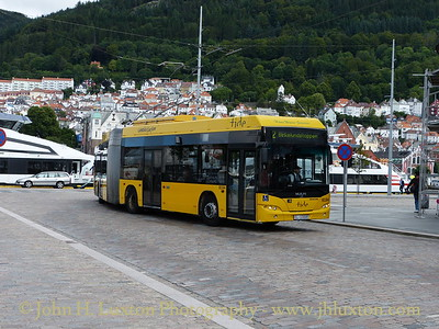 A MAN-Neoplan Trolleybus on Bergen's sole trolleybus route turns off the Strandkaien on August 08, 2012.