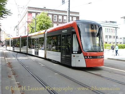 A German built Variotram arriving at the the Bergen Byparken terminus. - August 08, 2012