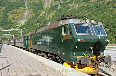 Flåmsbana photographed on Monday August 06, 2012. Trains are top and tailed by EL17 locomotives built in the 1980s by Henschel & Sons of Germany. 172227 rests at the buffers Flåm before working the 09:45 to Myrdal