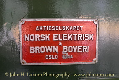 Flåmsbana photographed on Monday August 06, 2012. Builder's plate carried by preserved NSB El 9 2063 displayed at Flåmsbana Museum