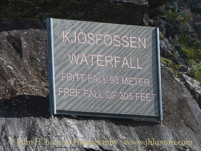 Flåmsbana photographed on Monday August 06, 2012.  Kjossfossen Waterfall Station Sign
