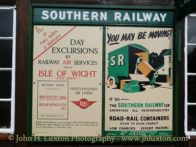 It's Quicker By Railway Air Services - classic poster board at Haven Street Station, Isle of Wight. April 08, 2012