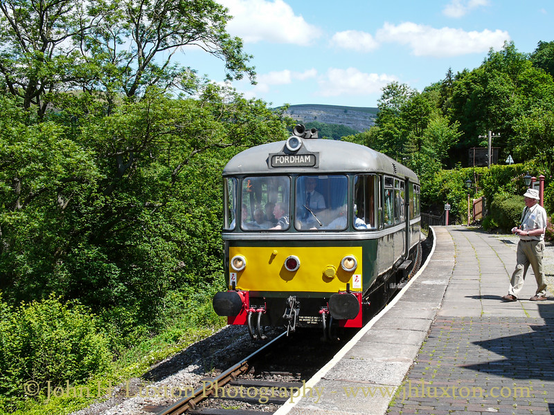 1958 Waggon Und Maschinenbau 4-wheel railbus no 79964 on loan from Keighley and Worth Valley Railway for the 2010 Railcar Gala arrives at Berwyn on June 26, 2010.