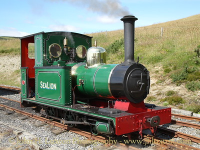 W.G. Bagnall built SEA LION of 1896 runs forward at Sea Lion Rocks Station in preparation for running around her train after arriving from Lhen Coan on July 13, 2008.