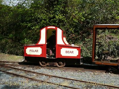 POLAR BEAR - the replica battery electric steeple cab locomotive seen at Lehn Coan depot coupled to an original Groudle Glen railway carraige. May 03, 2009