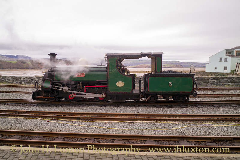 LINDA at Porthmadog Harbour Station after working the morning train on the Welsh Highland Railway.