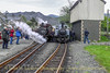 "MERDDYN EMRYS and DAVID LLOYD GEORGE in work's grey at Blaenau Ffestiniog on Saturday May 03 working the 11:45 service train to Porthmadog.<br /> <br /> This was the ""1954 to 2014 - Sixty Years of Preservation: Our Railway Adventure"" - Gala Weekend."