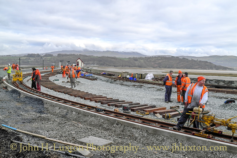 Reconstruction work at Porthmadog Harbour Station underway on Tuesday February 18, 2014. The work will provide a separate platform for Welsh Highland line services to Caernarfon, whilst some of the platform for the Ffestiniog services is being widened and westwards.