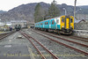 EARL OF MERIONETH at Blaenau Ffestiniog Station, with arriving Conwy Valley Line train on April 11, 2013.