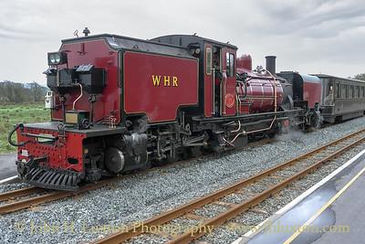 Number 138 an ex – South African Railways NGG 16 Class Garratt built by Beyer-Garrett of Manchester in 1958. She is seen at Pront Croesor Station on a Porthmadog to Caernarfon train on April 07, 2011