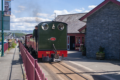 Ffestiniog Railway LYD departing from Porthmadog Harbour with 1605 to Beddgelert. Ex  War Department 303 / 1215 was tail locomotive on this working.