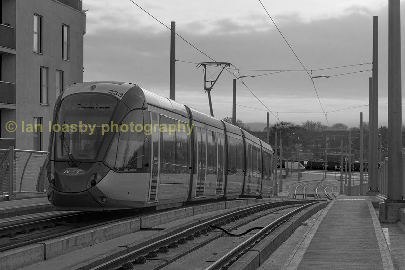 This is the only image i have converted to B & W from this set of images which is unusual for me  but 233 is seen here descending from the Nottingham Railway station stop  down to street level