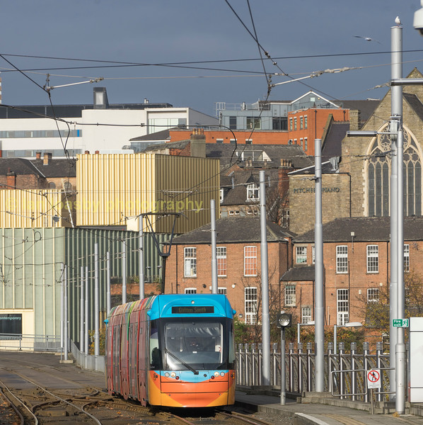 210 on the approach to Nottingham station stop.