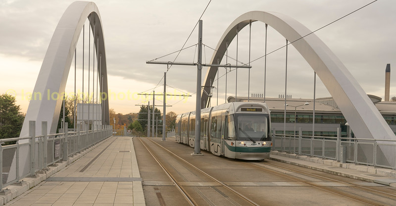 Bombardier INcentros arrives over the friendship bridge at the Queen medical Centre (QMC) stop