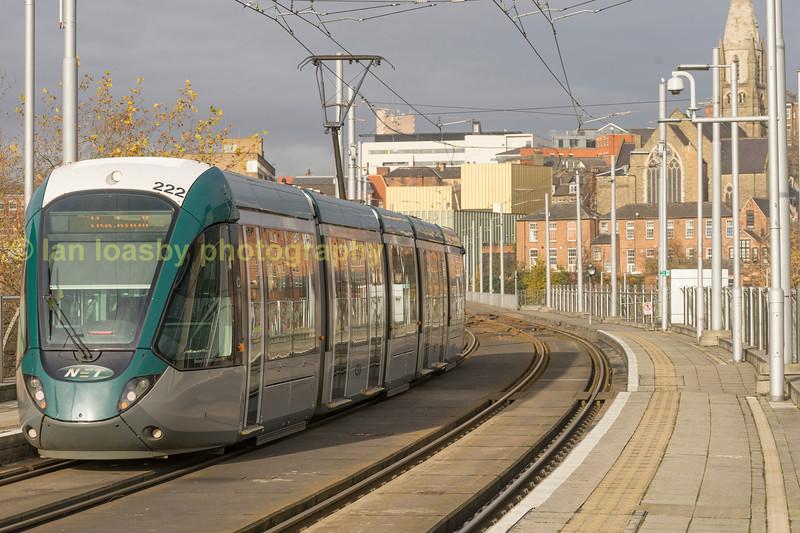 222 departs Nottingham Tram stop forthe city centre