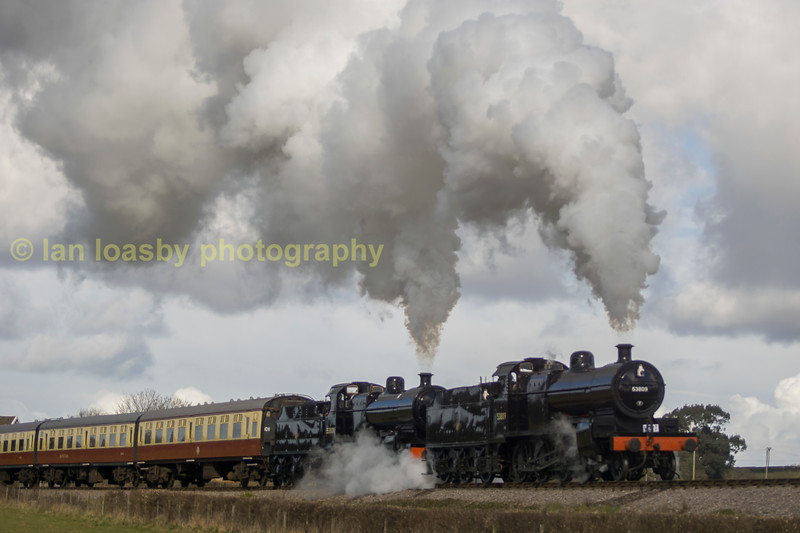 7F's 53809 & 808working hard at Woolston curve on the West Somerset railway