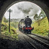 British Railways (Midland Railway) 4F 0-6-0 43924 entering Mytholmes tunnel on the Keithley and worth valley railway