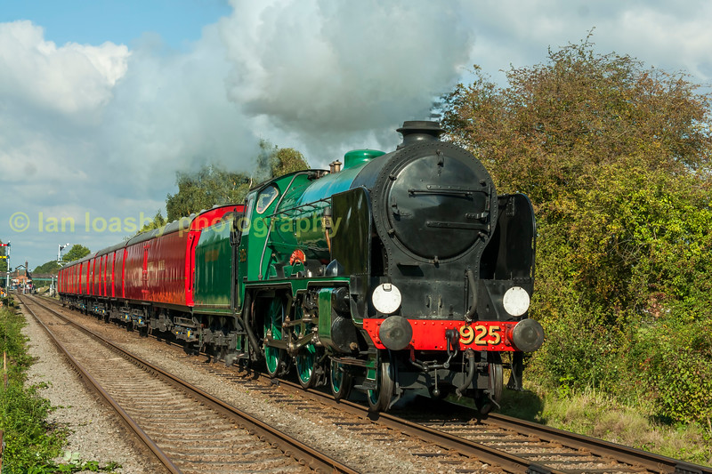 SR 4-4-0 925 Cheltenham  with a Traveling Post Office (TPO) train at Quorn on the GCR