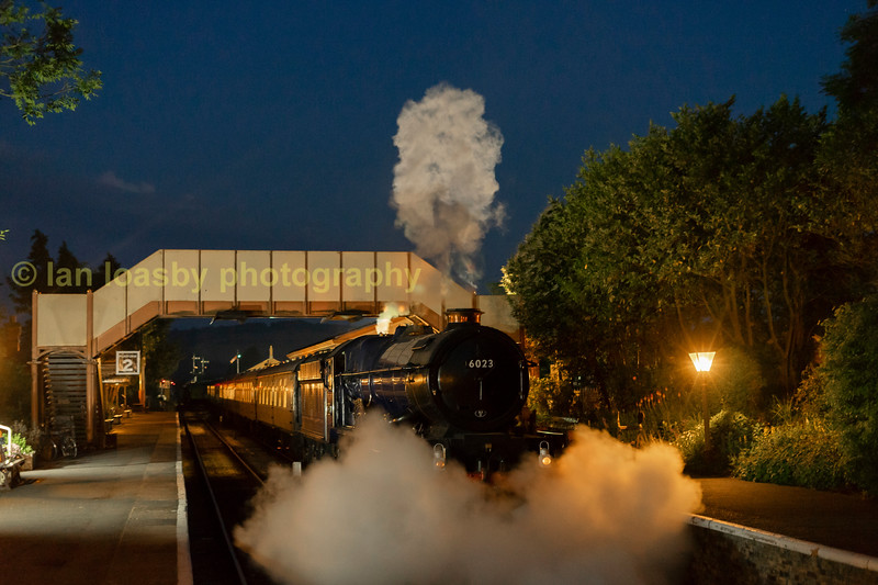 King Edward II lets of steam at Toddington station  during a night photo session.