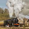 7F's  53809 & 808 working hard across Wolston Moor on the west somerset railway