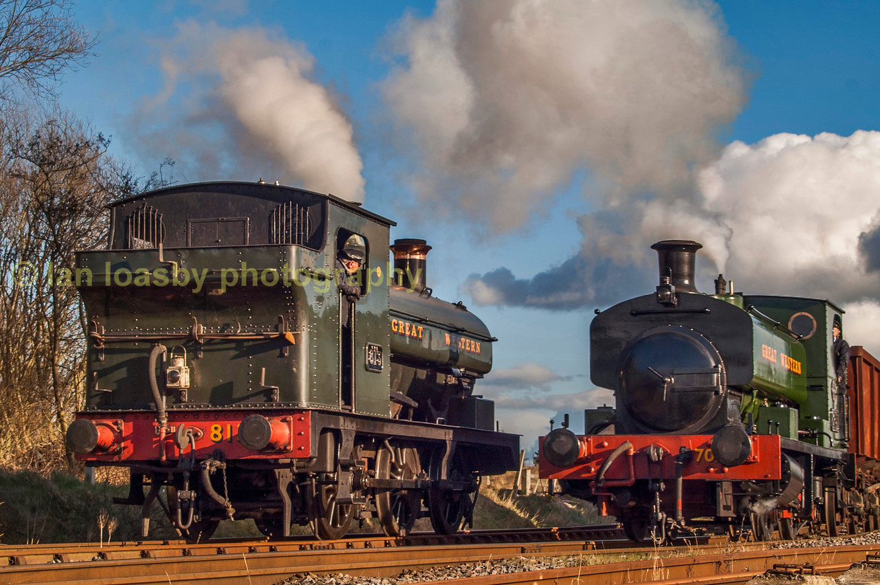 Ex GWR tank engines pass each other at chasewater