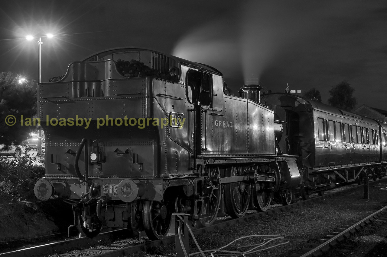 Wx GWR 2-6-2 tank 5164 stabled at kidderminster  on the svr