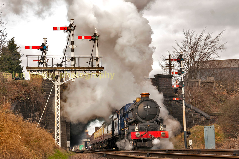 Ex GWR King class express passenger locomotive 4-6-0 NO 6023 King Edward II at beeches rd on the great central railway