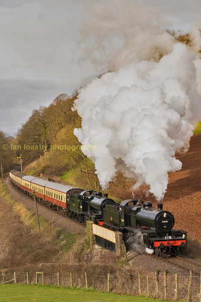 7F's 53809 & 808 at Castle Hill Williton on the west Somerset Railway