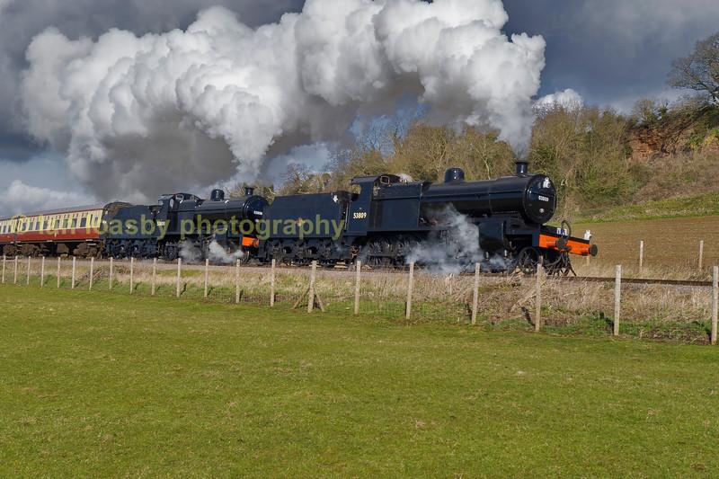 7F's 53809 & 808 Woolston farm crossing, West Somerset Railway