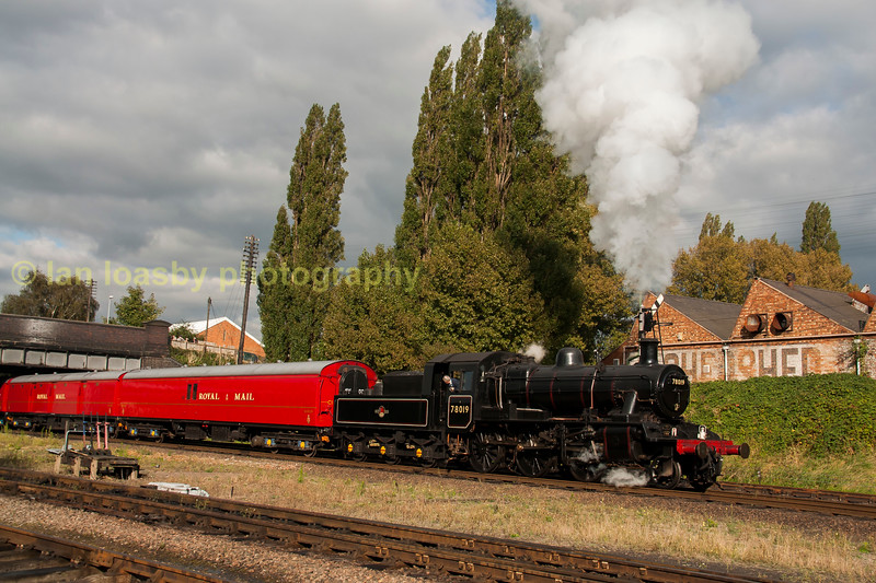 Ex BR std 2 4-6-0 78019 departs Loughborough on the GCR with a TPO train