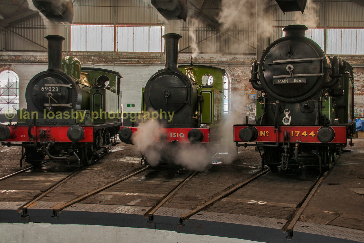 LNER line up of small engines around the turntable inside Barrow Hill roundhouse
