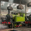 A little 0-4-0 moves onto the turntable in Barrow Hill roundhouse