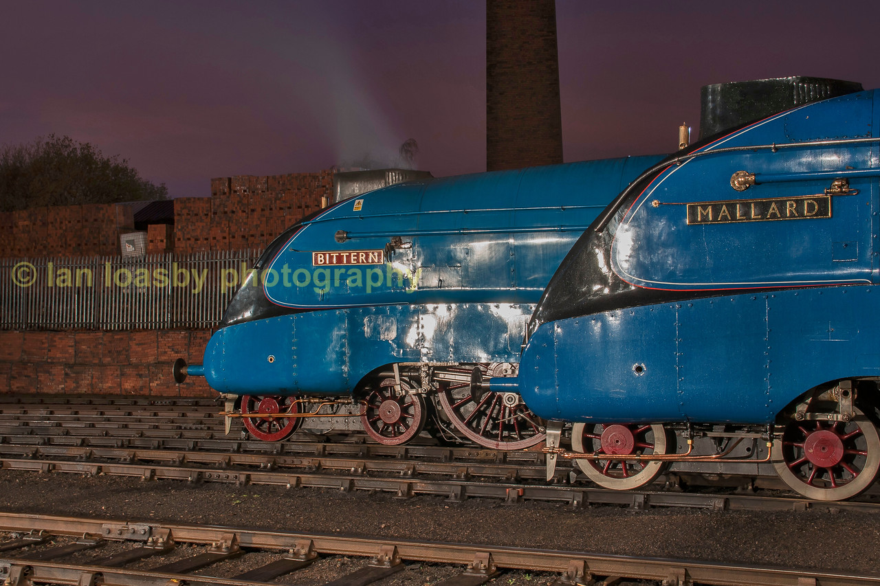 Word speed record holder 'Mallard alongside operational class mate 'Bittern 'in barrow Hill yard