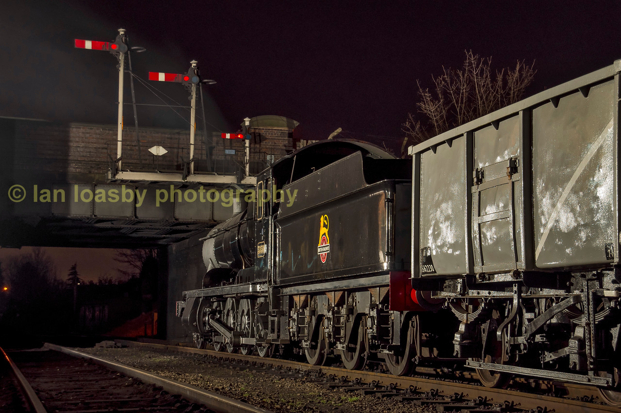 Night coal train awaiting the road south at Loughborough central