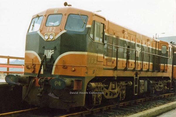 182 (IR Branding & livery) Rosslare Harbour  9 March 1991  D Heath