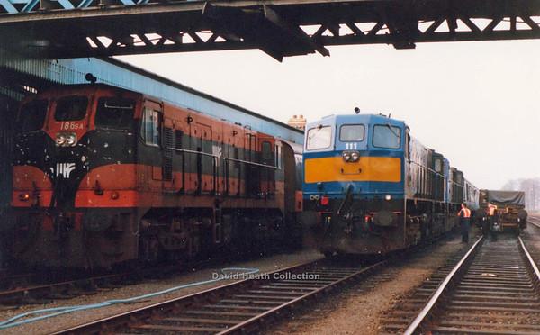186  (IR Branding & livery) passed by 111 & 113  Dundalk   21 April  1990  D Heath