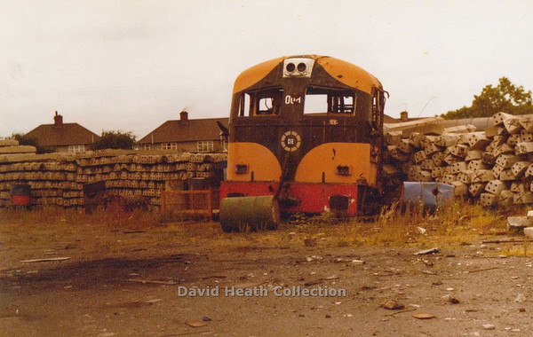 008 (CIE Branding & Livery) Inchicore Works Dublin 1st of class withdrawn due to Bomb Damage  c 1983  D Heath