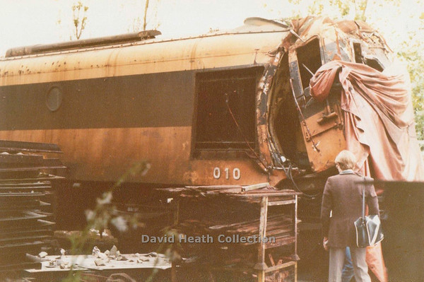 010 (CIE Branding & Livery) Inchicore Wks c 1983   had been involved in crash at Lisburn NI  D Heath