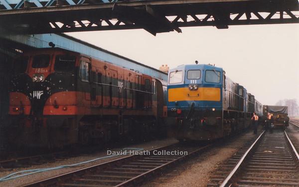 111 Great Northern & 113 Belfast & County Down pass 186  Dundalk   21 April  1990  D Heath