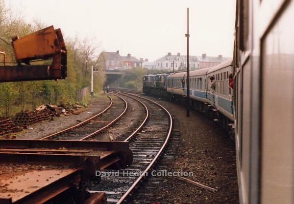 111 Great Northern & 113 Belfast & County Down Leaving Portadown on return to Dublin 21 April 1990 D Heath
