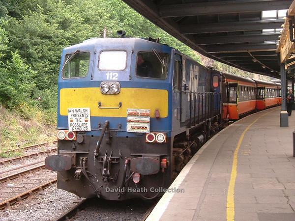112 Northern Counties with headboard Waterford Rosslare Rambler Ian Walsh Railtour 25 June 2005 D Heath