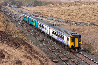 156464 and 156489 are seen again as they approach Shotlock Hill from the north with 2H93 1426 Carlisle to Leeds Northern Rail service.