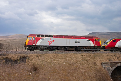 """57316 was the last of the class 57/3 sub class converted for Virgin. It carries the name """"FAB 1"""" with the Thunderbirds theme and International Rescue logo."""