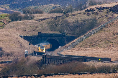 The test train disappears into the blackness of Moorcock Tunnel 99 yards in length.